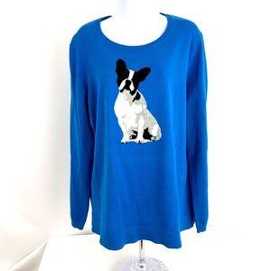 Crown & Ivy Sweater Sz 1X French Bulldog Blue Knit